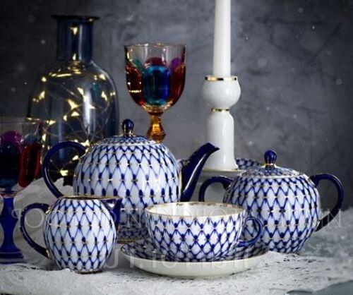 Imperial porcelain tea set for 6 persons.cobalt net.gold.Lomonosov.