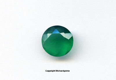 Faceted 8 mm Round Loose Green Chalcedony 1.63 Cts. For ONE
