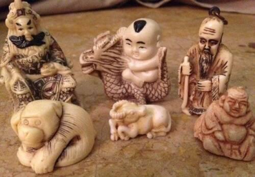 Lot Vintage Resin Japanese Netsuke Figurines Miniature Art Pieces