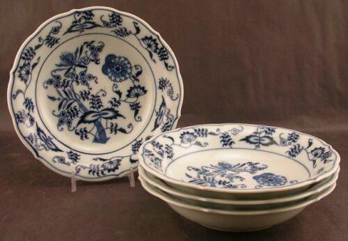 4 Blue Danube Onion Coupe Soup Bowls Rectangle Japan Mark Excellent Condition