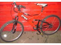 Dual Suspension Trax mountain bike 18 inch Medium Frame.