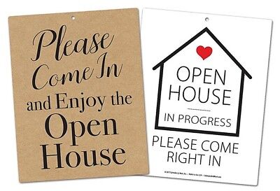 Large Double Sided Open House In Progress Door Sign 25 Pack
