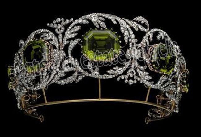 17.60cts ROSE CUT DIAMOND PERIDOT ANTIQUE VICTORIAN LOOK 925 SILVER TIARA