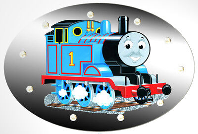 Thomas Beleuchtung Wand (Wandlampe Thomas die Lokomotive - Motiv Oval - Kinderlampe aus Holz)