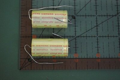 Siemens Axial Audio Capacitor 2200uf 25v 18mm X 40mm 2200mfd Free Ship 2pcs