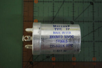 Mallory Vintage Capacitor 1000uf 50v Fp066.5 1000mfd Twist Lock Nos Free Ship X2