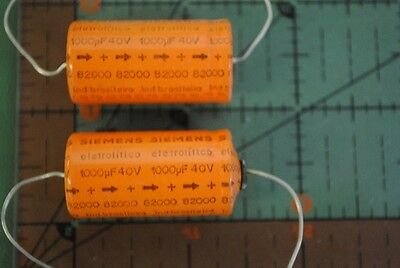 Siemens Axial Capacitor 1000uf 40v Audio 1000mfd 40vdc 18mm X 35mm 2pcs