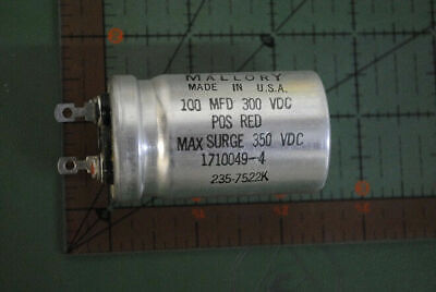 Mallory Vintage Capacitor 100uf 300v 1710049-4 100mfd 300vdc Solder Tabs New 2pc