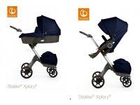 Stokke Xplory V5 dark blue Pushchair + carrycot / 2in1 brand new