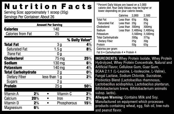 Excel Protein 94% of Isolate Whey per serving  , 400mg BCAA 2:1:1 Ratio.  1