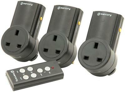 Mercury 350.113 3 x Remote Control Mains Plugs Home Automation Light Control New