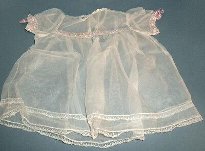 Antique 1950 Sheer White Christening Dress Lace Pink Rib Christening Sheer Dress
