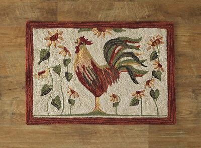 New Primitive Folk Art ROOSTER DAISY Chicken Wool Hooked Rug Floor Mat