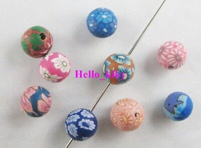 400 Polymer Clay (400Pcs Mixed colour Fimo Polymer Clay floral Round beads )