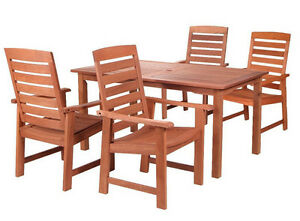 Ensemble de patio en bois dur tropical 5 mcx Table 59x36 (NEUF)