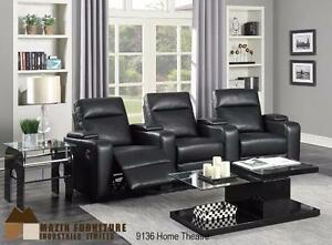 5PC HOME THEATRE SEATING COLLECTION IN BLACK GEL LEATHER MODEL 9136 $1,199.00 SAVE $500
