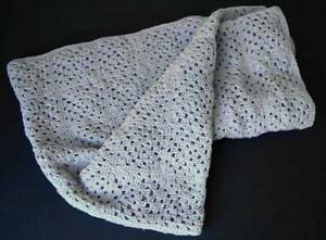 New silver 60 x 64-inch hand-crocheted afghan blanket