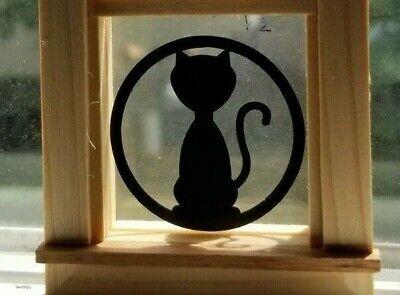 Miniature Dollhouse Halloween Window Decorations Black Cat 1:12 Scale