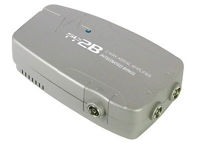 2-Way Digital TV Sky Aerial Signal Booster Amplifier Bypass