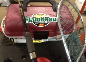 Fishing: Tackle Box , Net( new), Rod And Tackle For Sale