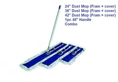 Dust Mop Kit Combo 42 36 24 Inch White Dust Mop Wire Frame Handle