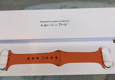 Auth HERMES Apple watch rubber band 40mm & 38mm Series 4 original Orange F/S