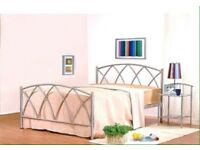 Silver metal double bed with clean spring mattress