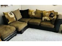 DFS Brown corner Sofa and footstall - Excellent condition.