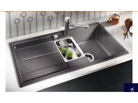 Blanco Metra 1.5 matt grey kitchen sink and tap