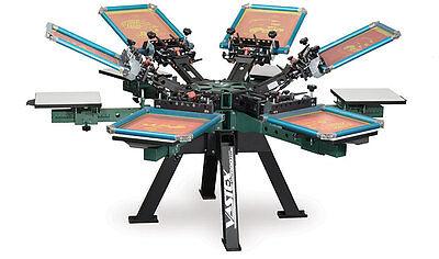 Vastex V-2000 Super Heavy Duty Screen Printing Press 6 Station 6 Color