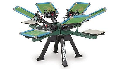 Vastex V-2000 Super Heavy Duty Screen Printing Press 4 Station 6 Color