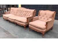 Antique French Walnut Sofa & Armchair