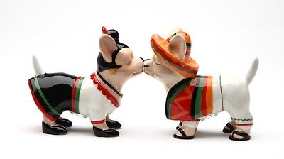 CHIHUAHUA CHI CHI DOG CERAMIC SALT AND PEPPER SHAKERS SET. MAGNETIC ATTACHED