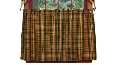 "Used, **Rustic Cabin** ""WOODS"" Tier Curtains 36""L - Green,Tan,Brown for sale  Hollister"