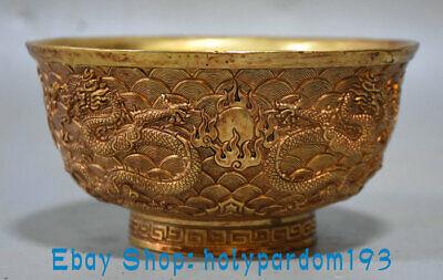 Old China palace dynasty bronze 24k gold Gilt beast Phoenix bird bowl bowls cup