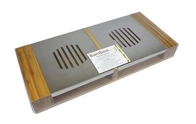 ORIGINS BAMBOO / STAINLESS STEEL TWIN FOOD WARMER TEA LIGHT PLATE BUFFET SERVER