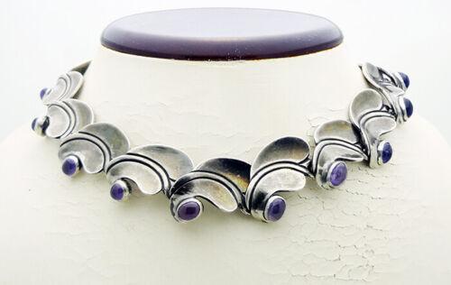 """ANTONIO PINEDA Mexico 970 Grade Silver Appx 14-1/2"""" Choker Necklace w/Amethyst"""