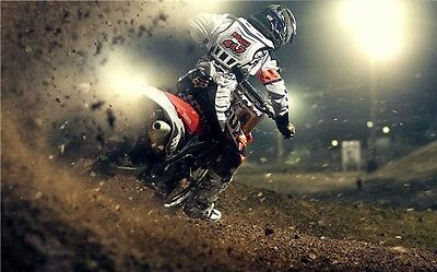 "MOTOCROSS DIRT BIKE JUMP SPORT PHOTO ART PRINT POSTER 40""x24"" 012"