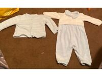Baby blue little bear Spanish designer timber suit and cardigan set 3-6m