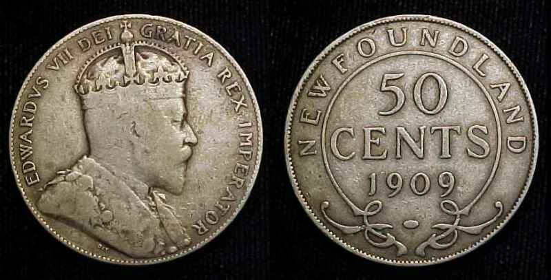 NEWFOUNDLAND 1909 Silver Fifty Cents F