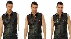 Lederhemd-Leather-shirt-Chemise-Cuir-Napa-Leder-Hemd-weste-vest-Waistcoat-S-XXL