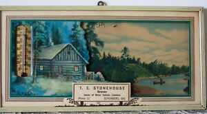 Vintage Frame Lithograph Advertisement Picture Thermometer Calen