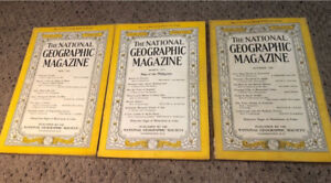 3 National Geographic magazines - 1944 and 1945 - authentic