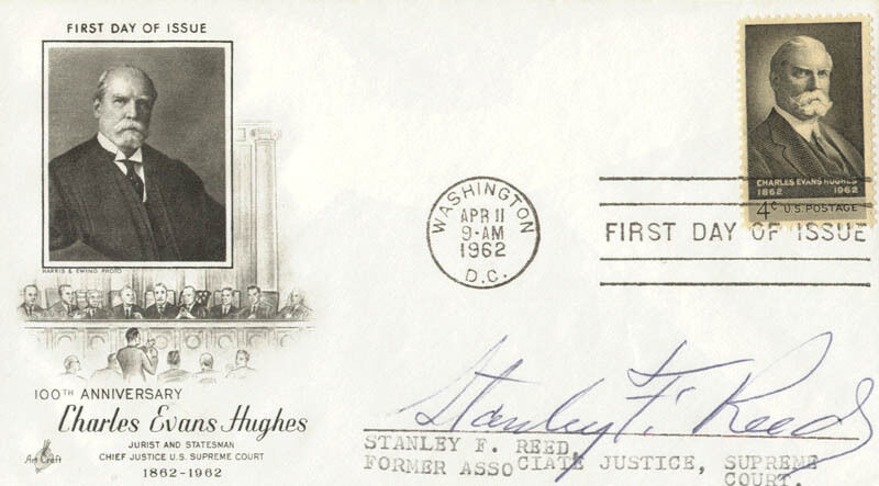STANLEY F. REED - FIRST DAY COVER SIGNED