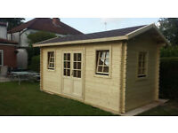 44 mm, 16 x 8' (5 x 2,5 m) Log Cabin. 18 mm roof and floor boards.