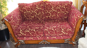 UPHOLSTERY FABRIC TRADITIONAL LOVE SEAT, QUEEN SIZE BEDROOM SET