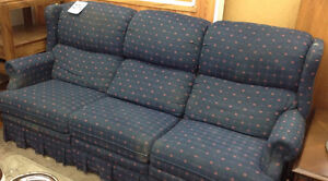 Blue with Little Pink Bows pattern recliner couch