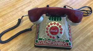 Coca-Cola Stained Glass LookLight-Up Push Button Telephone