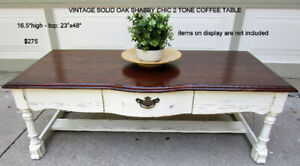 TODAY - VINTAGE  SOLID OAK SHABBY CHIC 2 TONE COFFEE TABLE