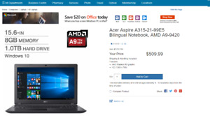Acer Aspire 15.6' Notebook - Brand New from Costco
